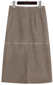BLOE NAPPING WOOL CHECK MIDI SKIRT