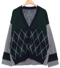argyle check v-neck cardigan