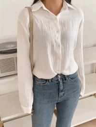 Trendy Wrinkle Pleated Cotton Shirt