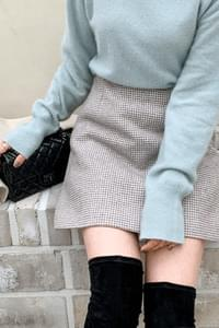 Adele Check Mini Skirt-Beige Small Size Same Day Shipping