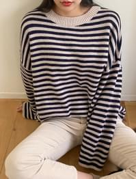 Striped loose fit wool knit