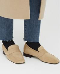 a swinging suede loafer