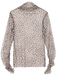 high neck leopard shirring mesh T - woman
