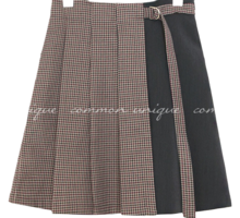 ROHAS CHECK MIX WRAP MINI SKIRT