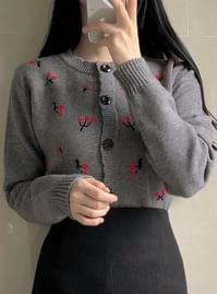 Lamb wool cherry wavy knit cardigan
