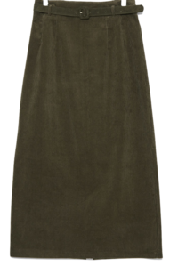 corduroy belt long skirts