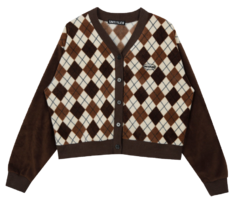 Fleece Argyle Cardigan (Brown)