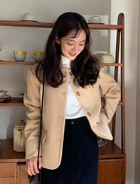 Meaning wool round jacket_C (size : free)