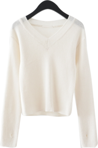 semi crop V-neck knit
