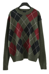 argyle round wool knit