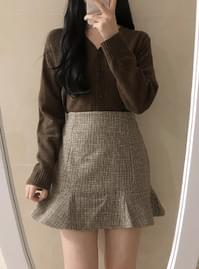 Wool Check Mini Skirt