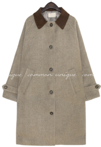 FOREN CORDUROY COLLAR LONG COAT