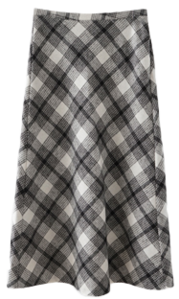 soft A-line check skirt
