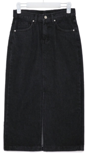 deep denim slit long skirts