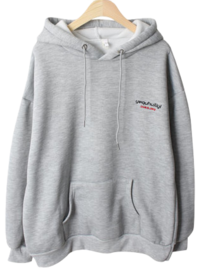 Purette embroidery brushed hooded tea