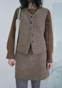 wool plaid set - vest