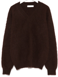allow angora v-neck knit