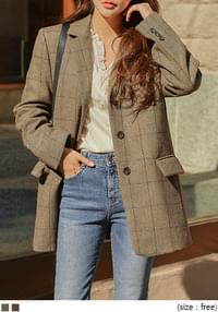 WOOL HERRINGBONE CHECK JACKET