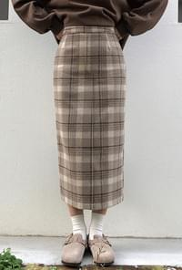 Tantan check long skirt