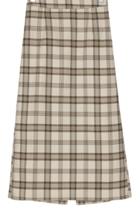 Vintage banding check long skirt