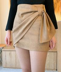 Suede shirring wrap skirt