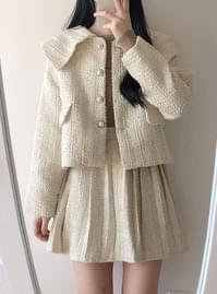 Zenya tweed collar jacket with pleated skirt set
