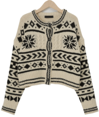 Snow flake button cardigan_C