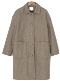 Big pocket quilting wool coat