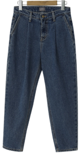Bottle pintuck Fleece-lined denim pants