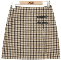 mond check mini skirt 裙子