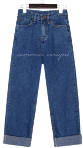 NAPPING ROLL UP WIDE DENIM PANTS