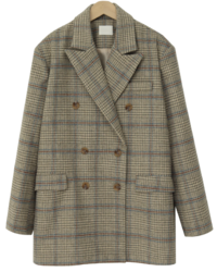 Carret wool check jacket_J (size : free)