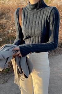 Warmer half-neck slim goal knit
