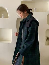 Hood check wool coat_A (울 40%) (size : free)
