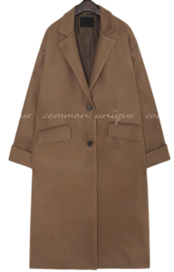 RONT WOOL SILT SINGLE LONG COAT 大衣外套