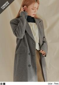 WOOL 50% CHECK LONG COAT - 2 TYPE