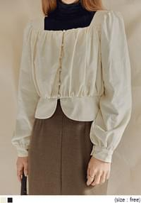 CORDUROY WRAP BUTTON CROP BLOUSE