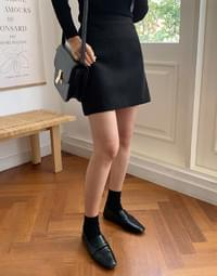 Ria back wool banding mini skirt