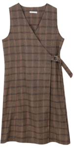Buckle check wool dress