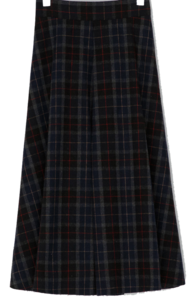 Vintage check flare long skirt