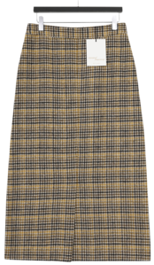 MMMM / Clash Check Slit Wool Skirt