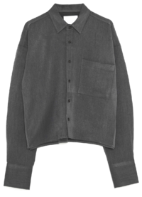 plain pocket crop shirts - men