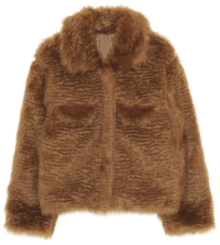 wave collar fur jacket - woman