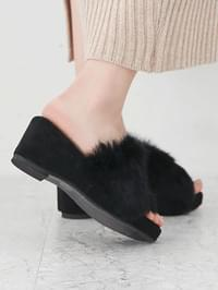 Gaens Real Fur Mule Slippers 7cm