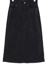 Corduroy trim midi skirt