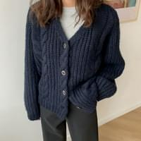 Cable v neck wool cardigan