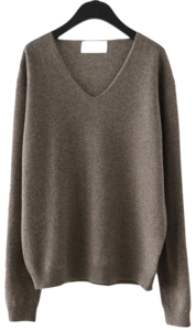 lazy deep V-neck knit