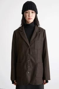 tweed wool simple jacket (3colors)