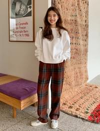 Check wool wide pants_A (size : S,M)