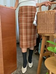 Long check slit skirt_Y (size : S,M)